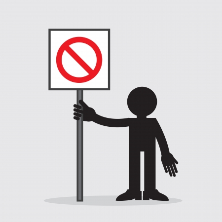 Silhouette figure holding sign with cross out symbol