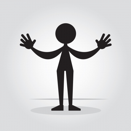Figure silhouette standing with arms open