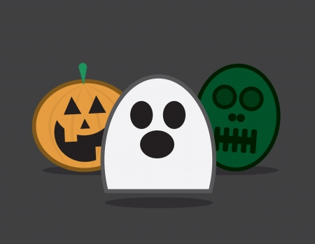 floating: Three halloween characters  Ghost pumpkin and zombie