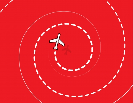 Airplane spiraling down with red background  Ilustração
