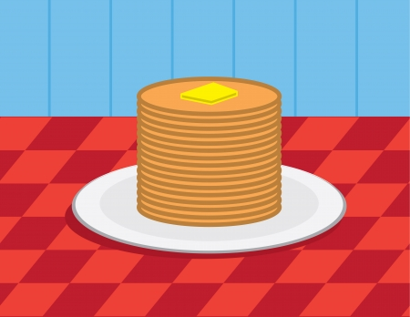 Large stack of pancakes with butter  Illustration