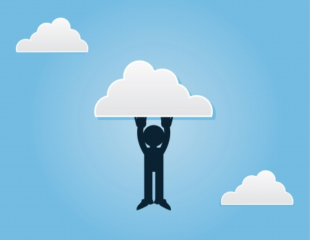 Silhouette figure hanging from a cloud  Illustration