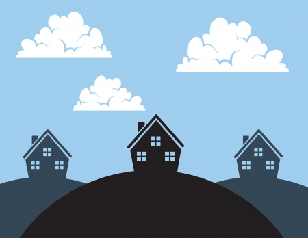 residential neighborhood: Silhouetted multiple houses on hills Illustration