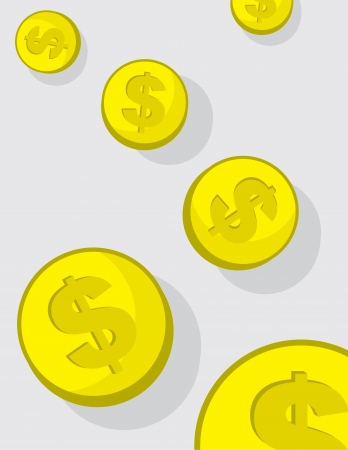 Gold coins with dollar sign falling Vector
