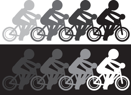 fading: Silhouette figure riding bike with fading motion Illustration