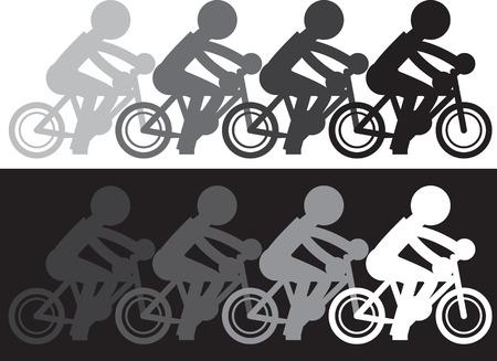 Silhouette figure riding bike with fading motion Ilustração