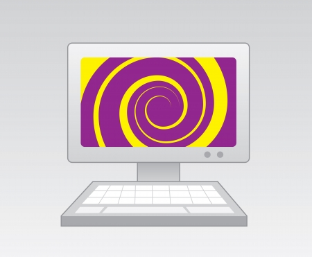 Computer with purple yellow spiral on screen Vector