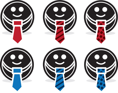 Circle face with different colored suit and ties