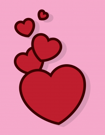 Red hearts floating with pink background