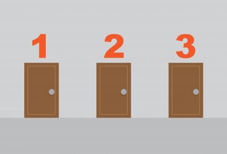 Three wooden opened doors numbered Stock Vector - 23298471