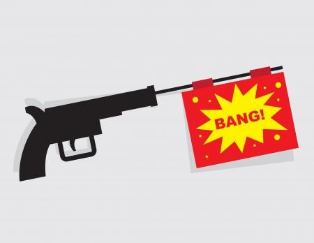 pretend: Gun firing message that says bang