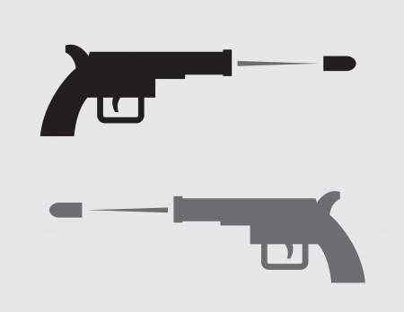 Gun shooting in black and gray silhouette Illustration