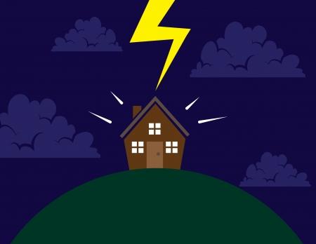 frighten: House on a hill hit by lightning Illustration
