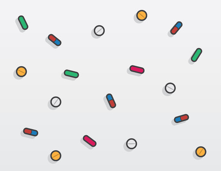 Various colored pills falling with shadow Иллюстрация