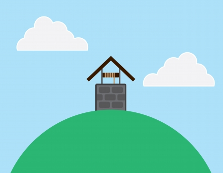 hill top: Well on top of a large hill