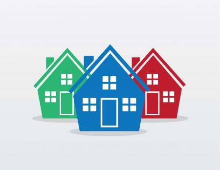 Huis silhouet kleuren in een groep
