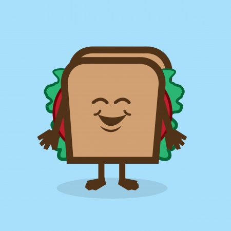 toasted: Sandwich character standing and smiling Illustration