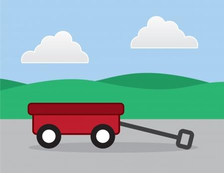 pull toy: Carro rojo fuera en una acera