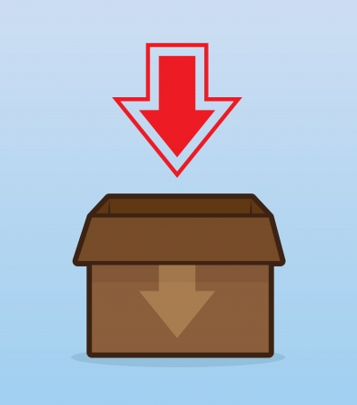 Download box with large arrow Illustration