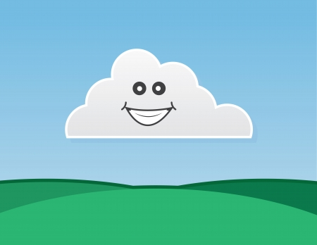 puffy: Cloud character smiling over green hills