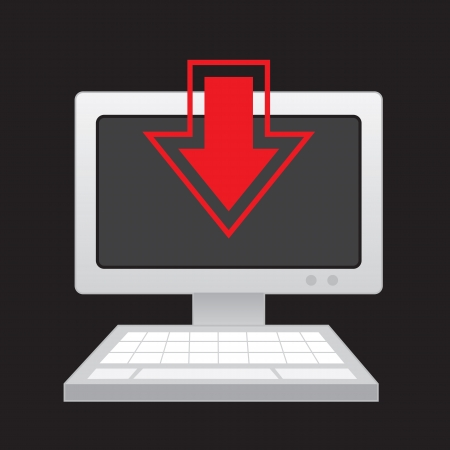 Computer with download arrow overlay Illustration