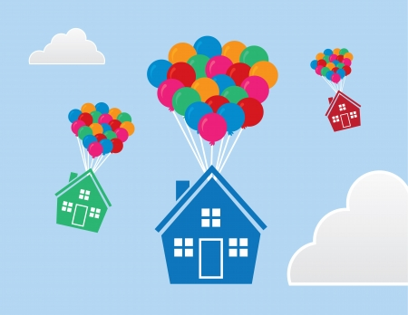 selling house: Houses with balloons floating through the sky Illustration