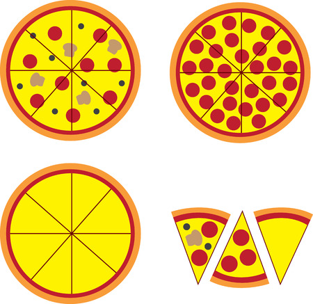 toppings: Pizza pie and slices with various toppings