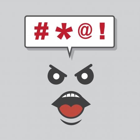 Gezicht schreeuwen krachttermen uit tekstballon Stock Illustratie