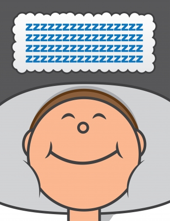 Sleeping person with thought bubble of z