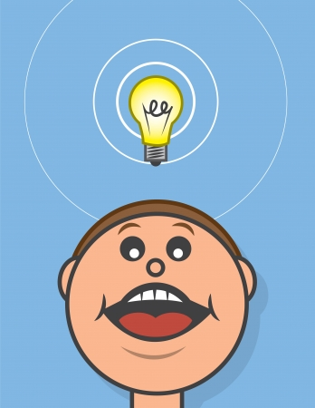 open mouth: Lightbulb hovering above cartoon head