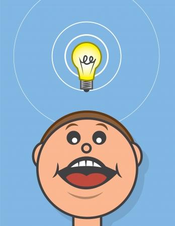 Lightbulb hovering above cartoon head