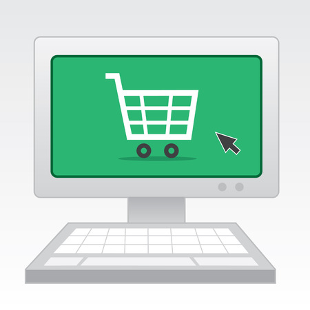 Computer with online shopping screen Vector