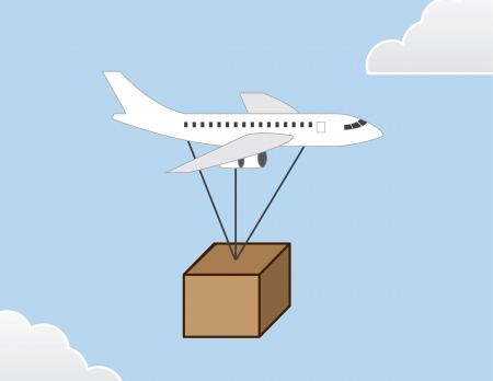 Plane delivering large package through the sky