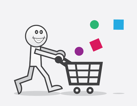 Happy shopper with objects falling into cart Vector