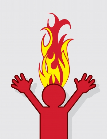 sweaty: Figure with head on fire Illustration