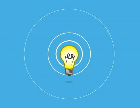 floating: Floating lightbulb shining with blue background