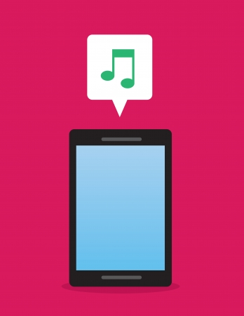 speakerphone: Phone with music note icon