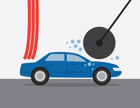 Car going through an automatic car wash  Ilustração
