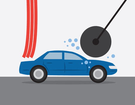 car wash: Car going through an automatic car wash  Illustration