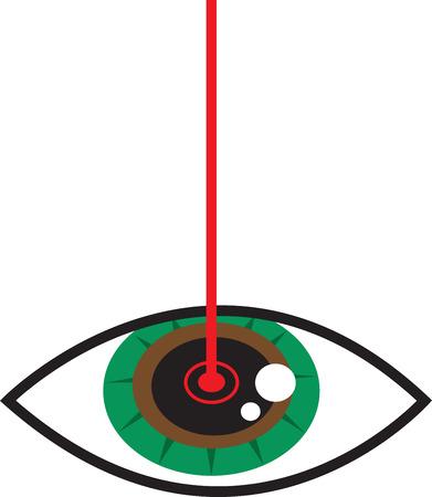 Yeux opérés avec laser rouge Banque d'images - 24026779