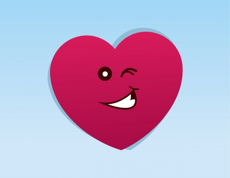 Heart character with winking face