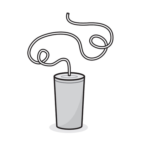 Isolated white cup with crazy looping straw Vector