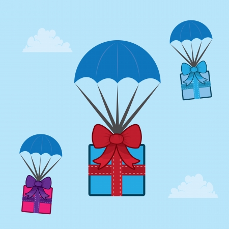 hang gliding: Parachuting gifts floating through the sky