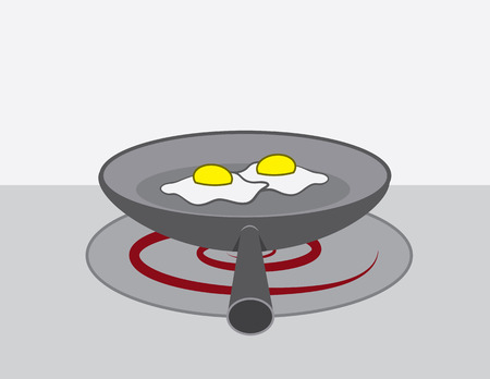 Eggs cooking in a frying pan Illustration