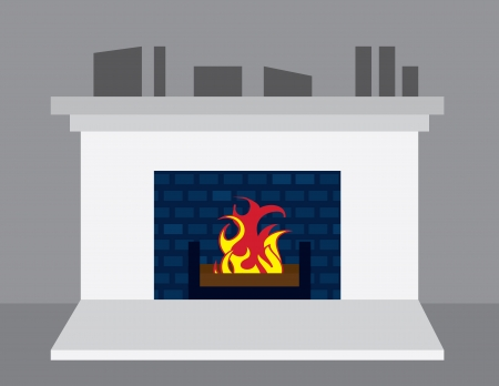 Fireplace turned on in home  Illustration