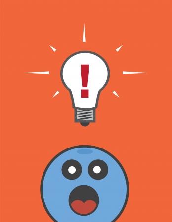 floating: Floating lightbulb with exclamation mark
