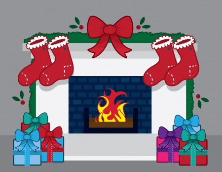 stocking: Fireplace with christmas decorations and stockings Illustration