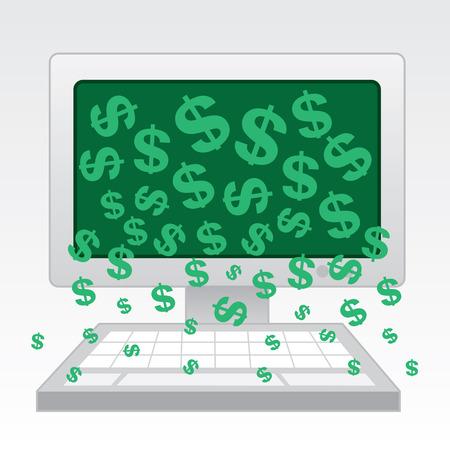 Money falling out of desktop computer 일러스트