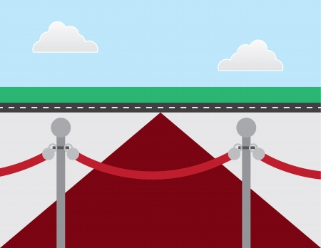 VIP rope and red carpet Vector