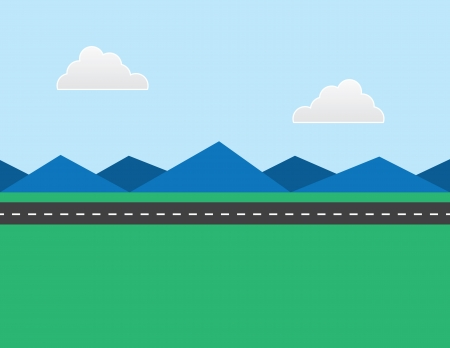 Highway road in the distance with mountains in the background  イラスト・ベクター素材
